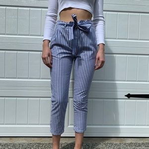 Blue and white striped paperbag pants